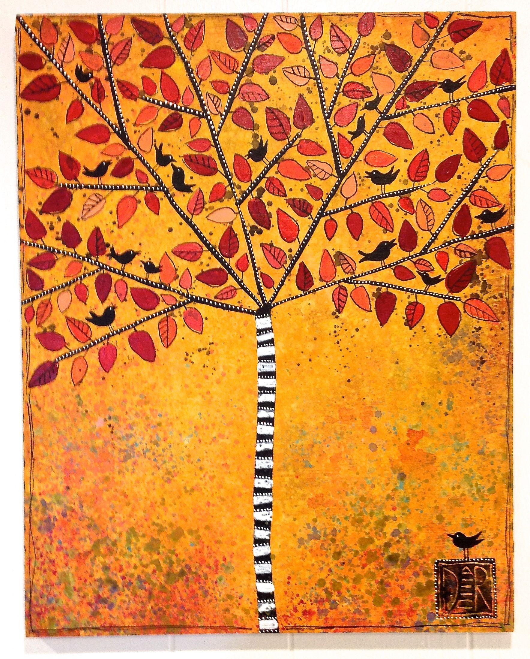 """Gold Zebra Tree, 16x20"""""""