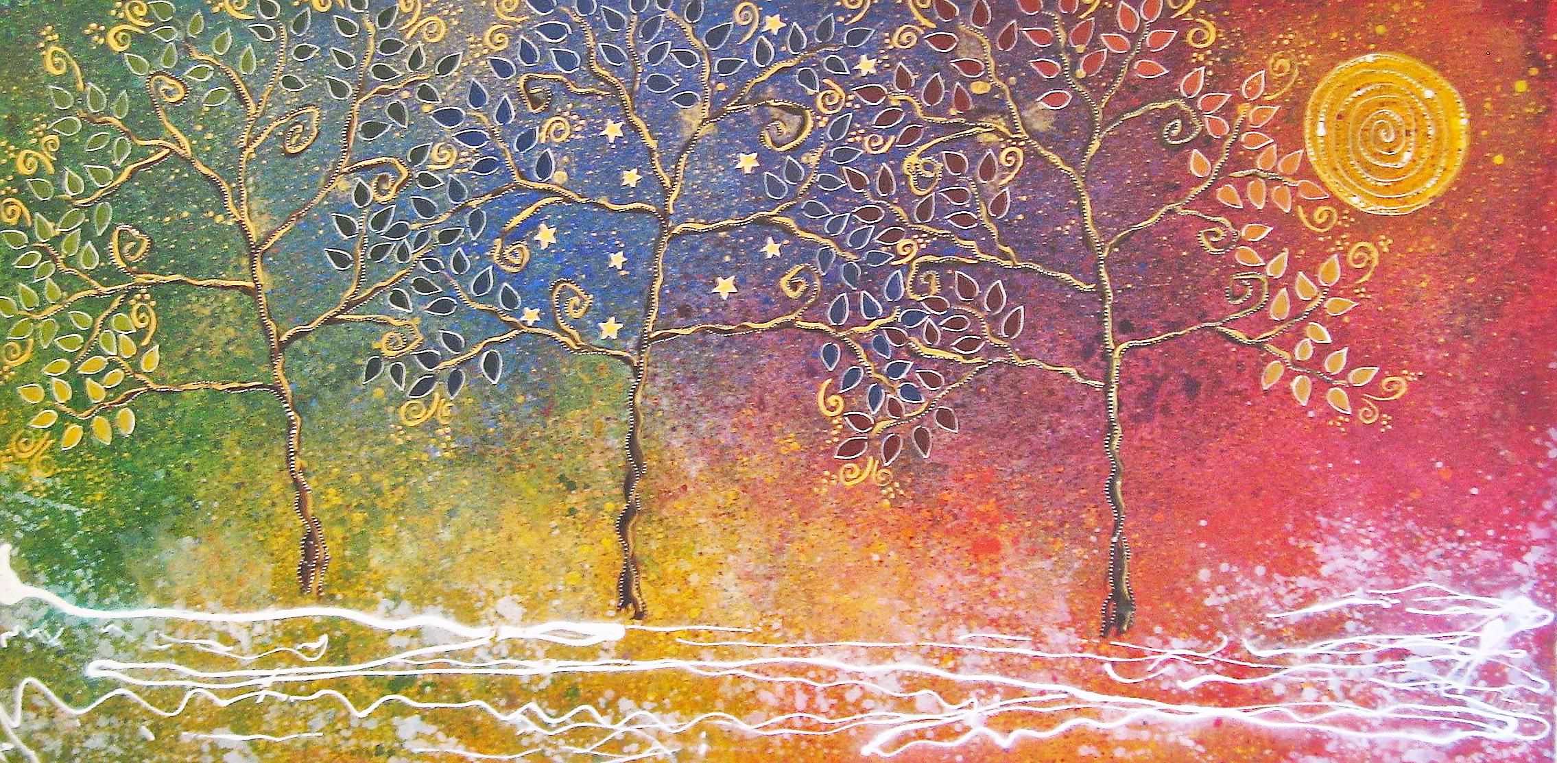 """Three Rainbow Trees, 24x48"""""""