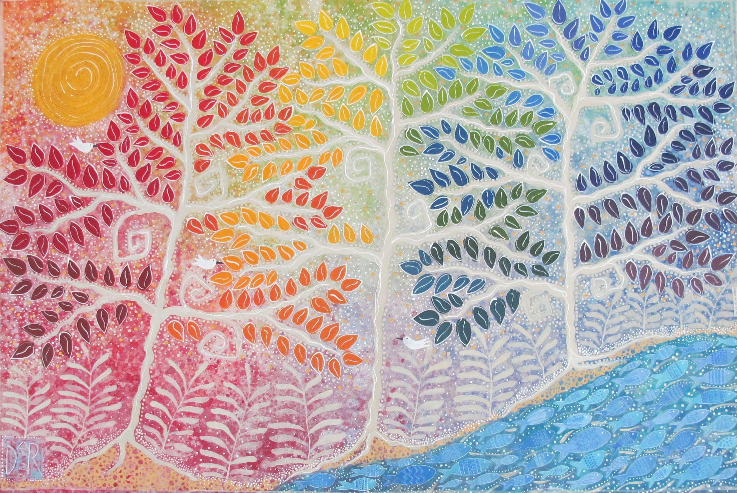 """The Joy Of Life Within,"" 36x60"" Acrylic on canvas."