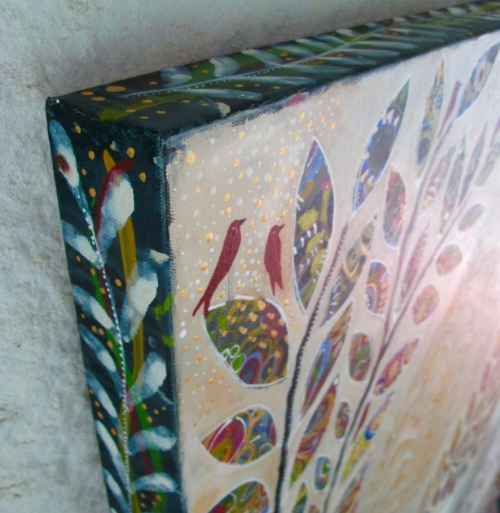 All four sides of my gallery-wrapped are completely painted with colors and motifs from front.