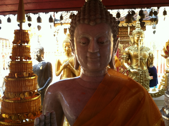 In Chiang Mai, inside Wat Phra That Doi Suthep, considered the holiest temple in northern Thailand.