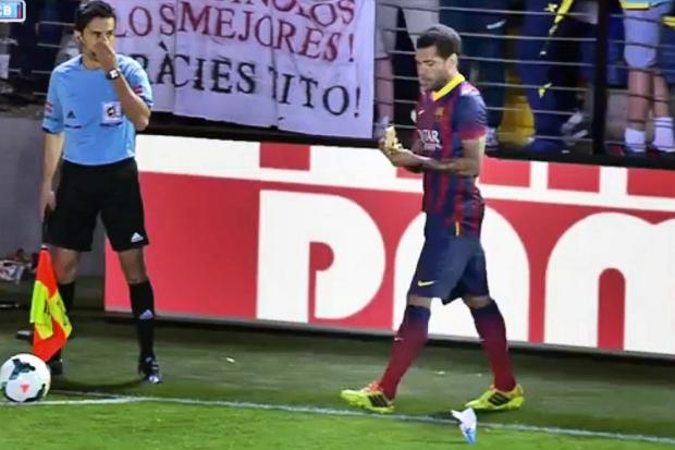 Dani Alves is a Brazilian footballer who plays for Barcelona in Spain's  La Liga .