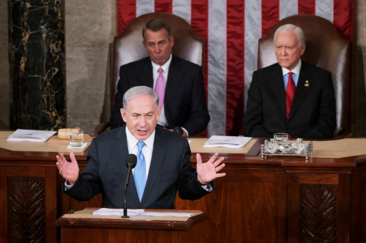 Talking Iran: Israeli Prime Minister Benjamin Netanyahu addresses a joint session of the U.S. Congress on March 3, 2015.    Photo: Mandel Ngan/AFP/Getty Images.