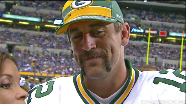 Obviously, Rodgers doesn't believe that God cares about mustaches.