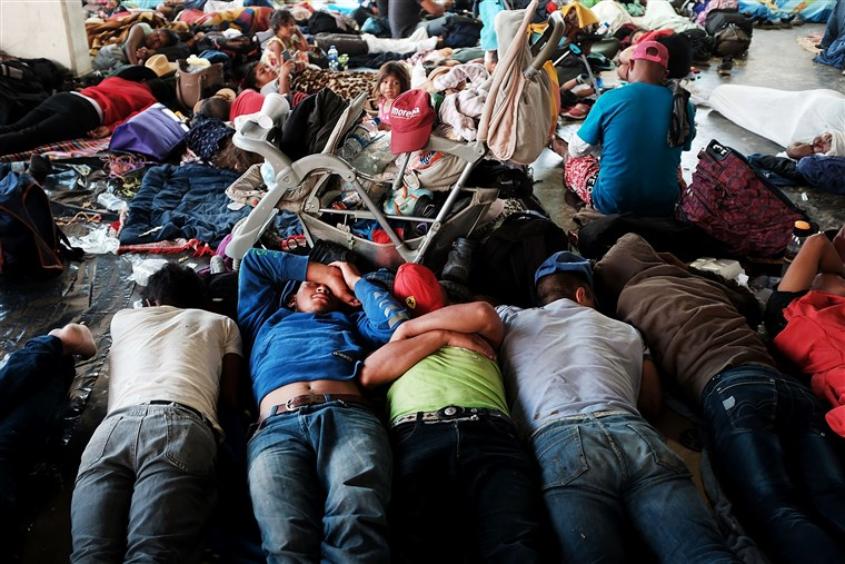 Migrant families from Honduras rest in a shelter in Mexico. Some will stay in Mexico due to  friendlier Mexican policies  enabling Hondurans to stay and work. Others will seek asylum in the U.S.  Photo: NBC News.