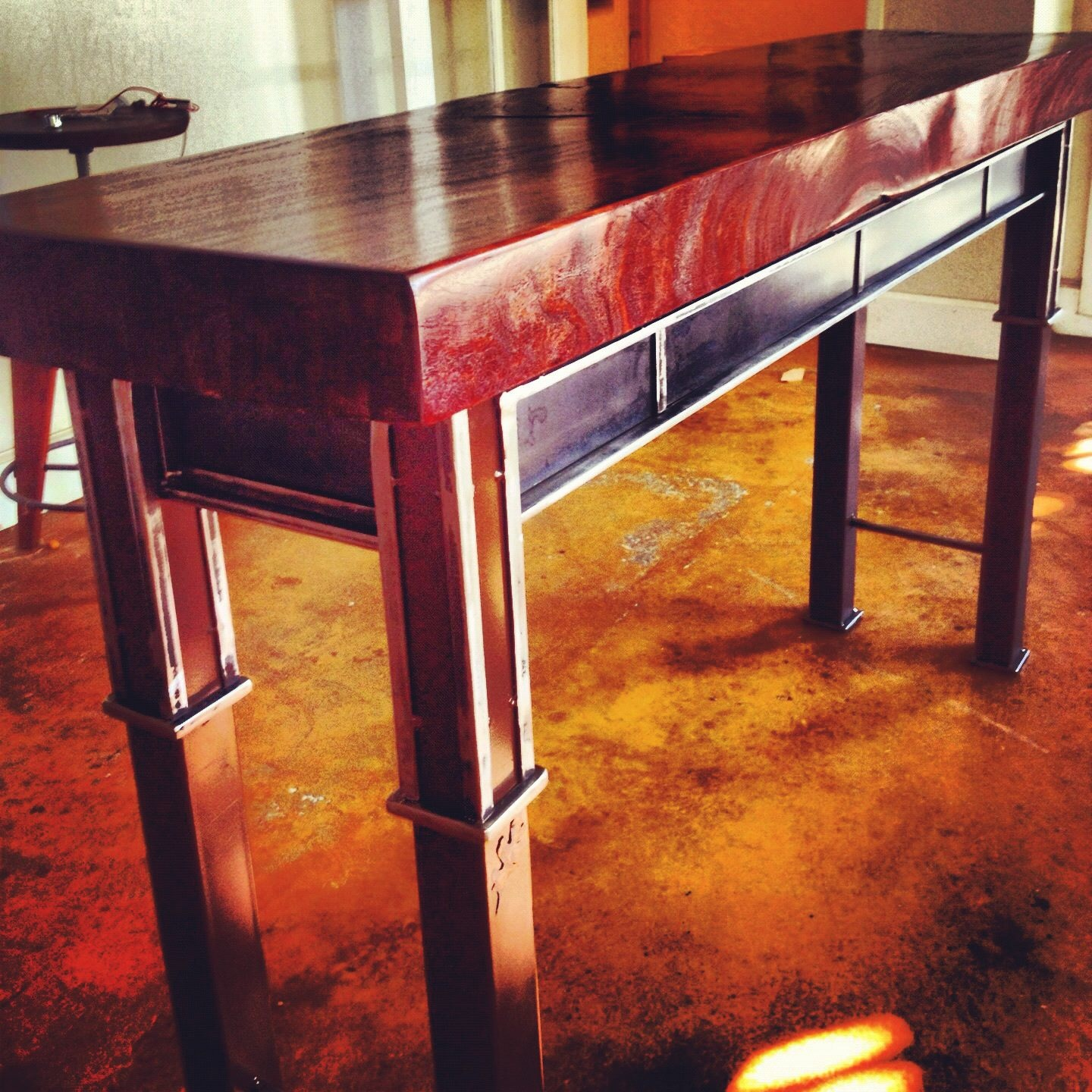 Red Gum Eucalyptus and Steel Table
