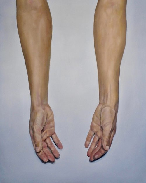 "Arms (Give) 24""x30"" Oil on Wood Panel, 2018"