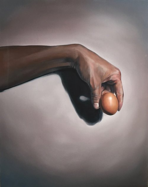 "Egg 24""x30"" Oil on Wood Panel, 2018"