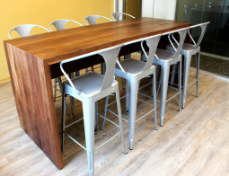 Custom bar height table for office lounge.