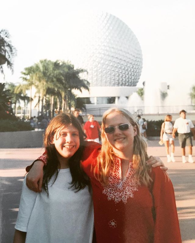"""1997. 🏐⛩🌴Fun fact: Janee dressed like shr was in the 1960's all throughout high school, because of an obsession with The Monkees. Another fun fact: the first time I visited Disney World, I actually experienced euphoria (ie, An extreme, unrealistic feeling of physical and emotional well-being, feeling """"high""""). And it's a dragon I've been chasing ever since. My smile is 💯 here."""