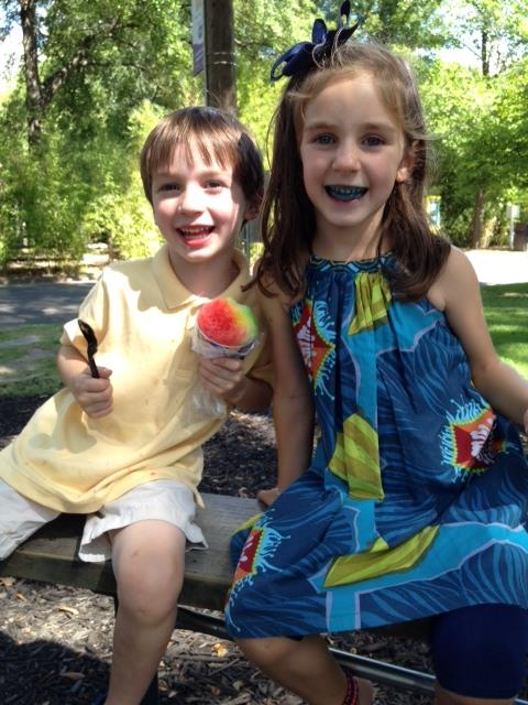We had water ice for a treat. Can you tell what color Bren's was??
