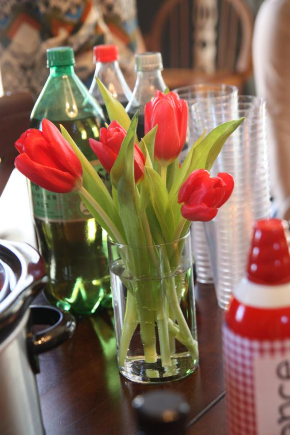 Tulips (and hydrangeas) = decorations