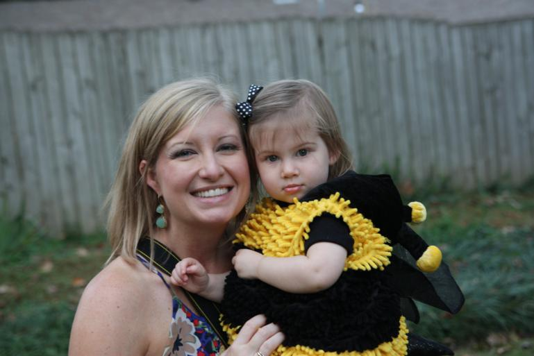 Olivia the bumble bee with her mama, Meghan