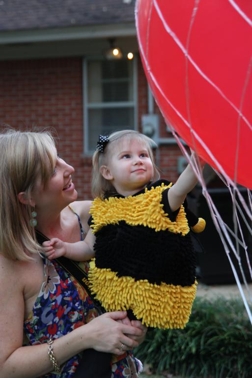 Olivia the lady bug likes the hot air balloon!