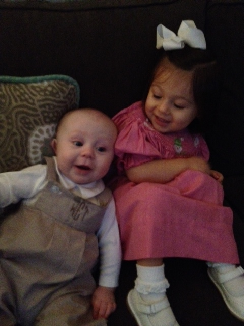 Dressed and ready for church. Aren't you impressed with Lala and Poppa for going to church with two little munchkins?!