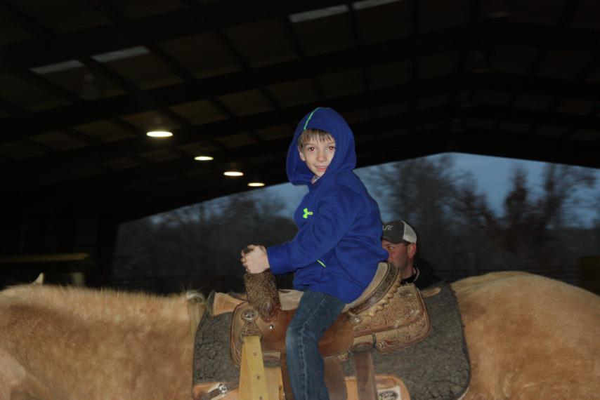 Parker riding by himself.