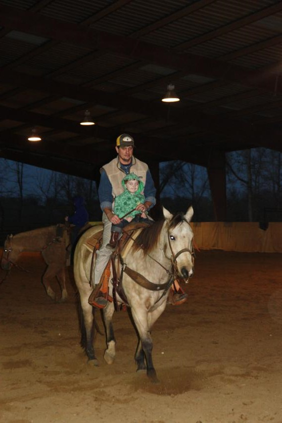 Ramer was the first kid up - he rode with cousin Joel.