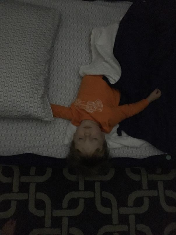 How I found him asleep in his bed!