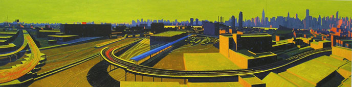 Citiwide, 2005, oil on linen, 32 x 128 inches     All Material © Ron Milewicz