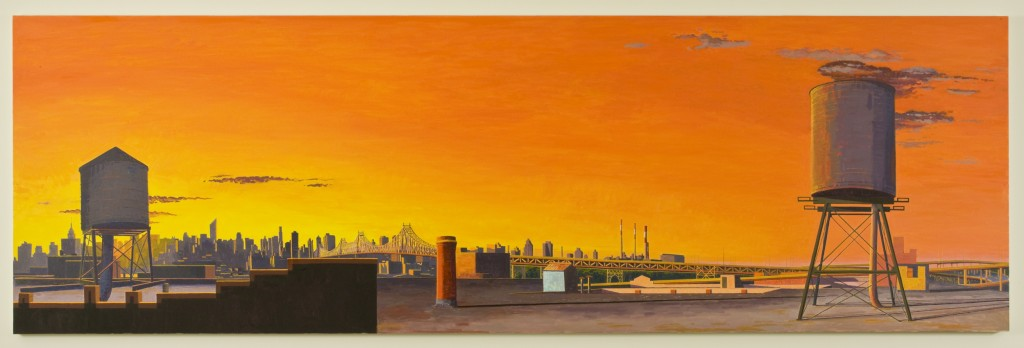 A Day for Songs and Contests - View North and West from Long Island City , 2008, oil on linen, 42 x 132 inches