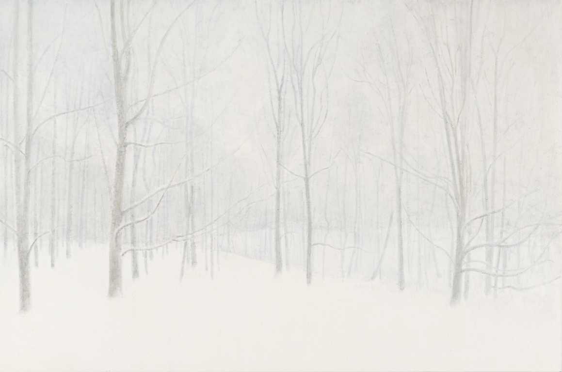 Woods in Winter . 2017, oil on panel, 12 x 18 inches