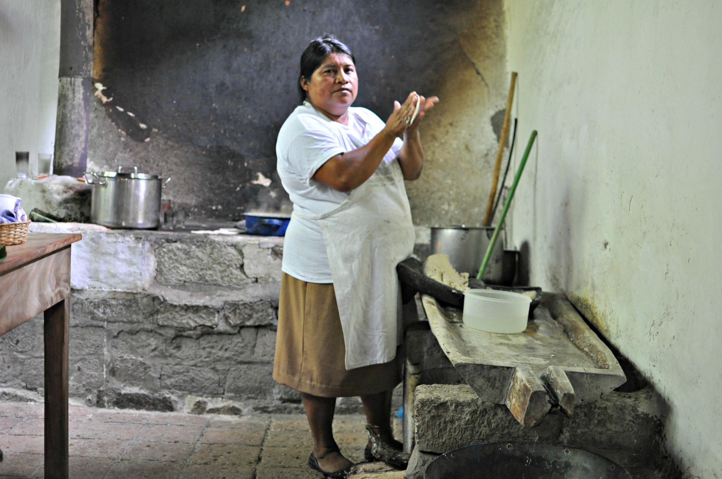 Making tortillas at Hacienda San Lucas