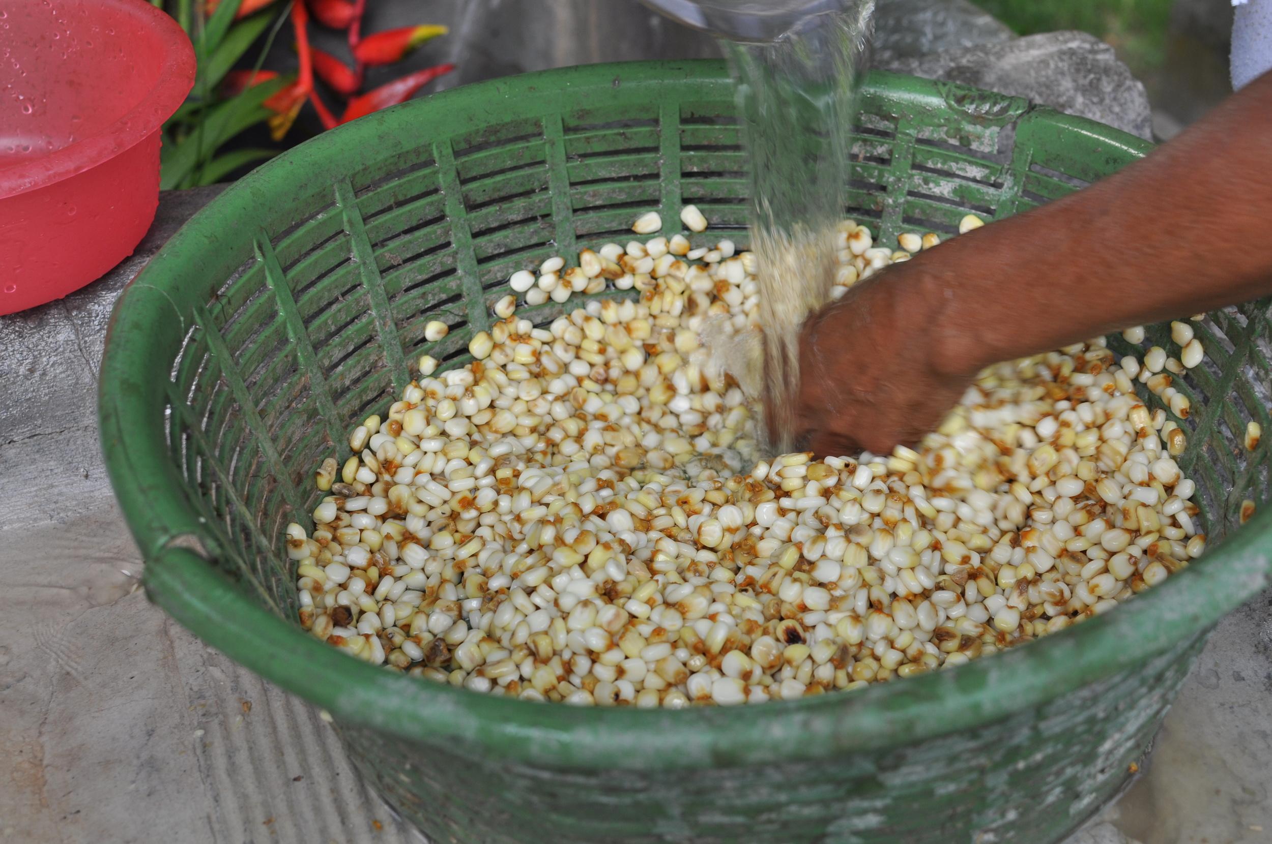 Washing the corn