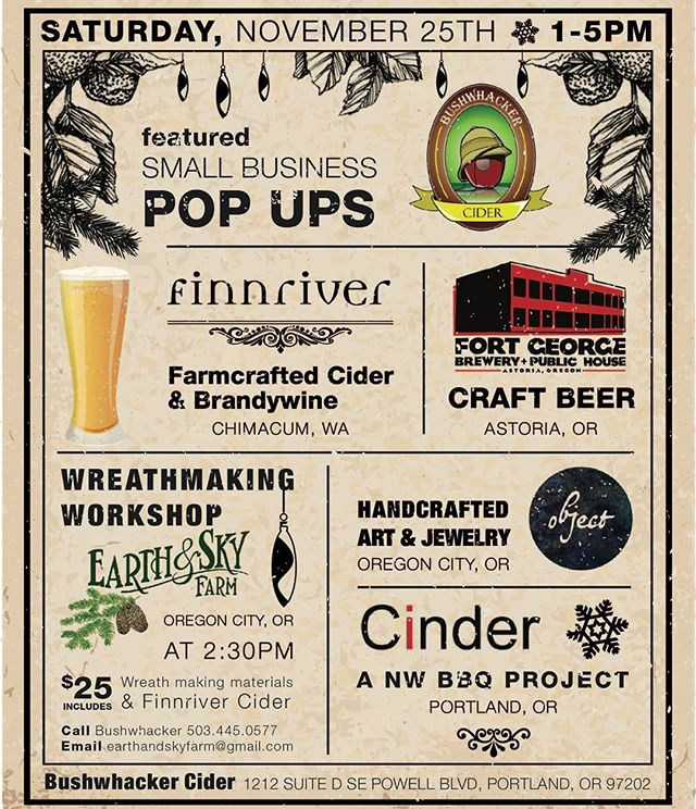 Setting up shop today, come by to say hi if you are around! Get yourself some handmade gifts and delicious drinks - @bushwhackercider @finnriver @fortgeorgebeer - 1212 SE Powell Boulevard from 1-5 today!