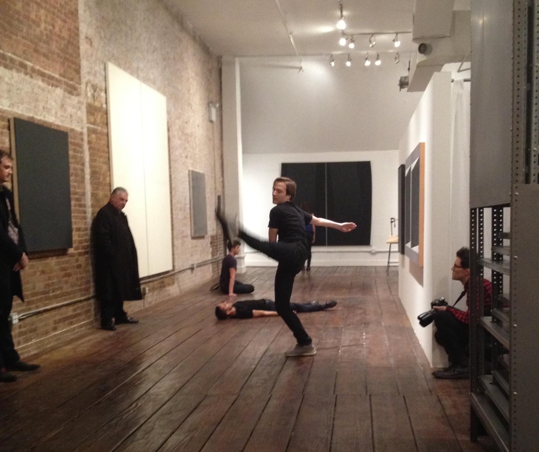 Joshua Tuason, Justin Rivera, Ian Spencer Bell, and Jenna Liberati in  Wallkill at TEMP Art Space, New York City, November 9, 2013.Photo by Eric Brown.