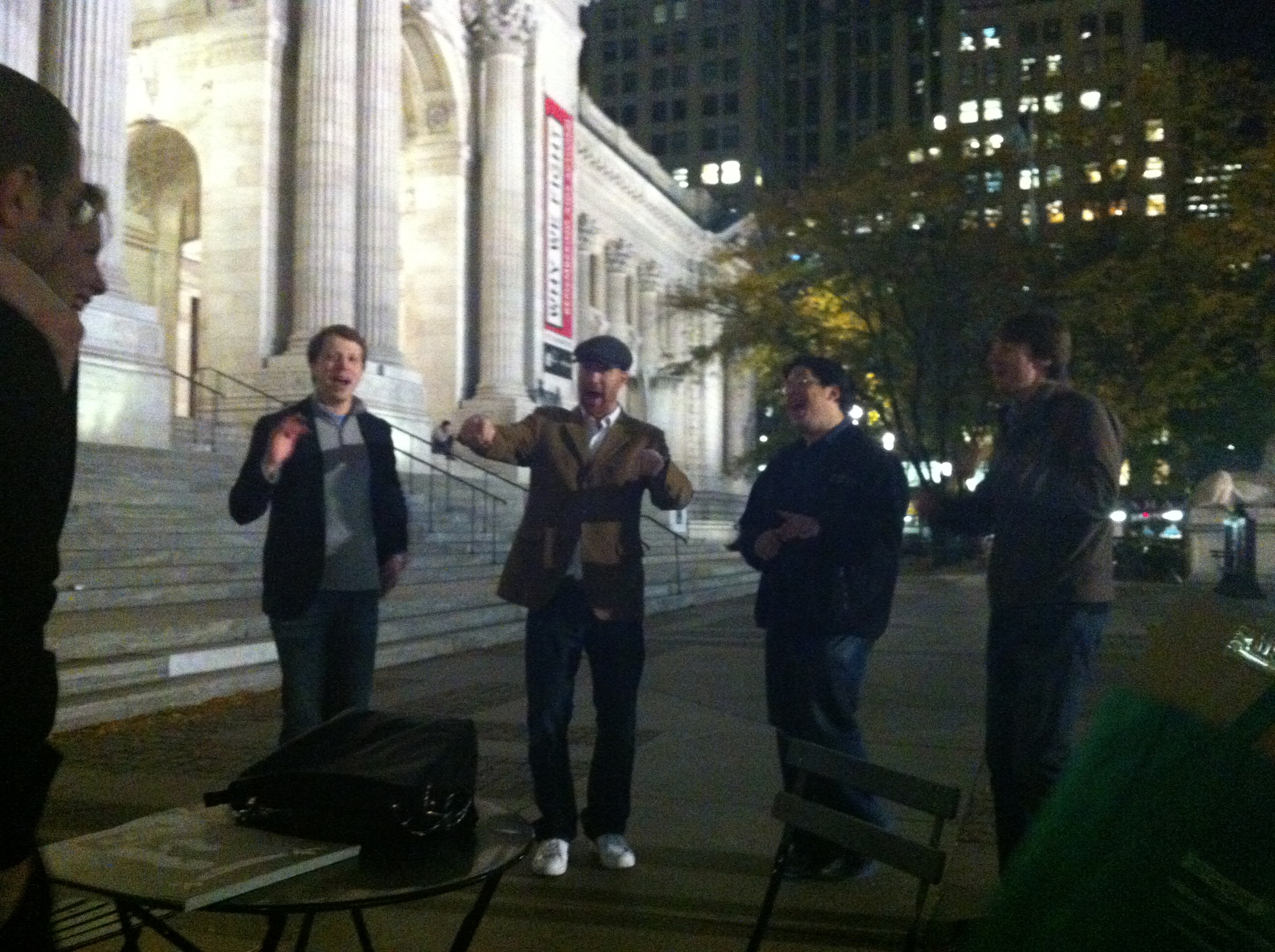Singing at Bryant Park for a Pop Up Wedding Proposal