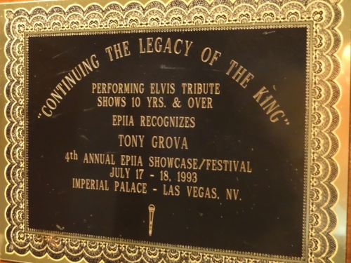 Tony received this award in 1993 in Las Vegas by the Elvis Presley International Impersonator Association for performing his Elvis Tribute Show for over 10 years which at                             that time he'd been performing already for 18 years!!