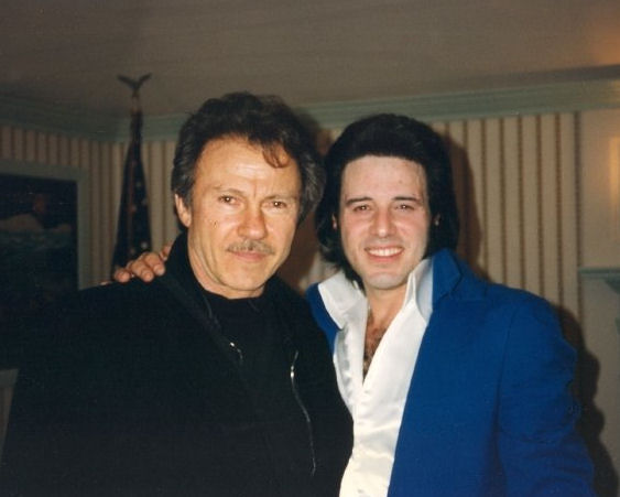 Tony and Harvey Keitel backstage after Tony's show that was attended by movie producer David Winkler and staff in 1996.