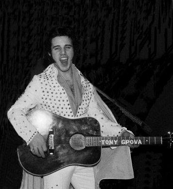1978 in New York City. Photo of Tony at his first audition for a movie production called The King of Rock N' Roll which was written and being produced by Elvis' high school friend George Klein. Out of hundreds of impersonators that showed up, Tony was being considered for one of the movie parts but the film never got off the ground.    Tony is also wearing his very first jumpsuit and cape that was tailor made by PJ Boutique in Greenwich Village, New York City. After the suit was made Tony personally applied all the studded stars to the suit.    Tony has most of his stage costumes from the beginning of his career but sadly enough this suit along with 4 others were stolen and disappeared sometime in the early 1980's from a venue he regularly played at in Hoboken N.J called Henry Yee's Hawaiian Islander.