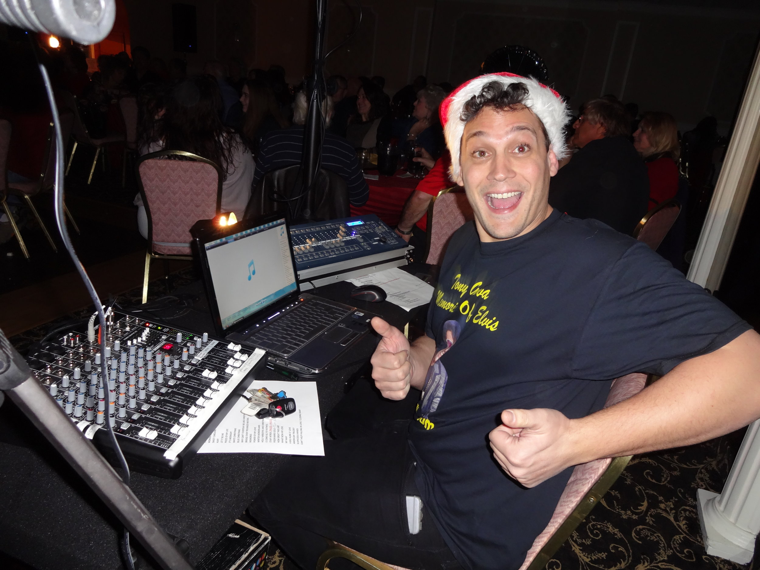 Josh running the laptop, sound and light board. December 3, 2016 Tony's Annual Christmas Show