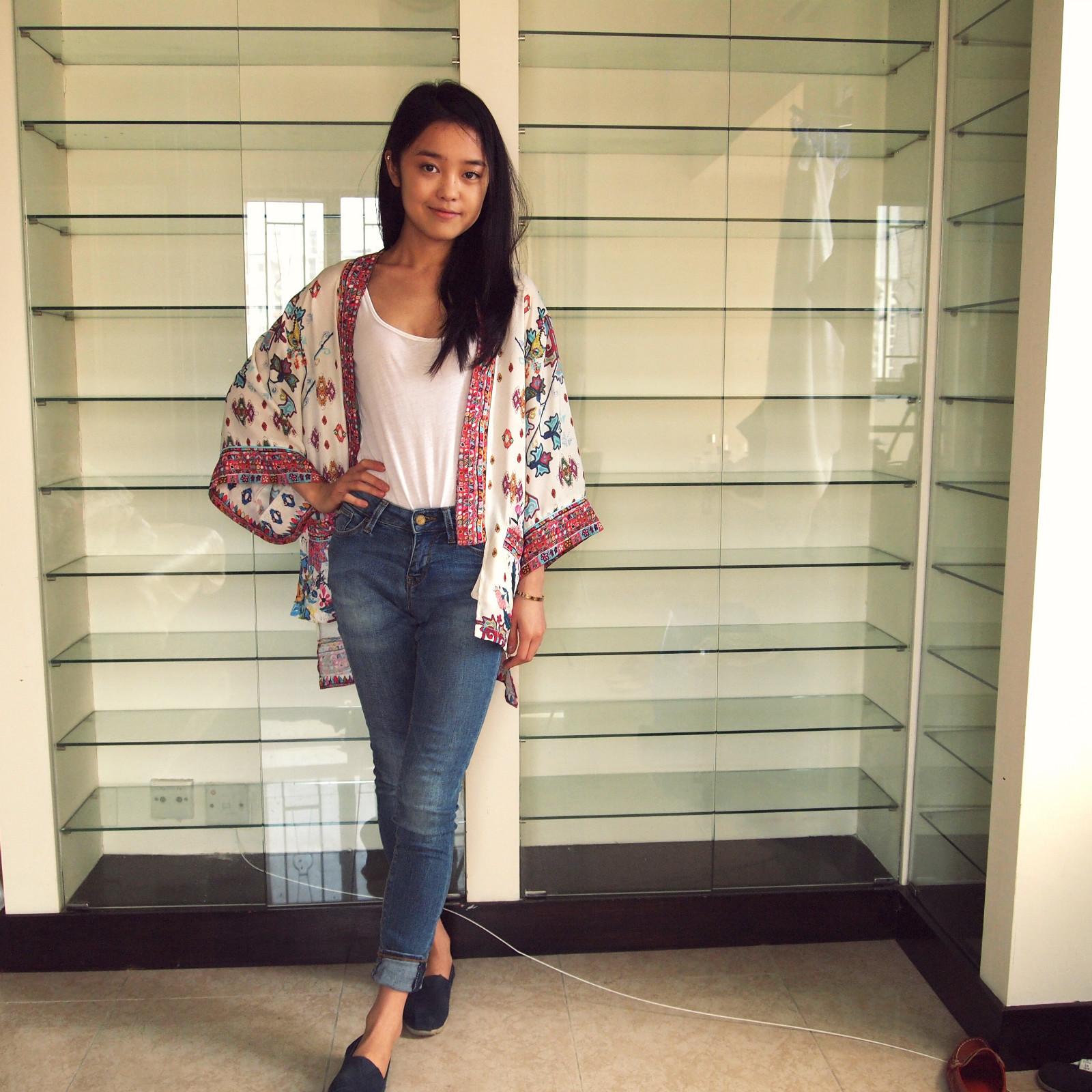 Zara Kimono and Jeans,  Toms