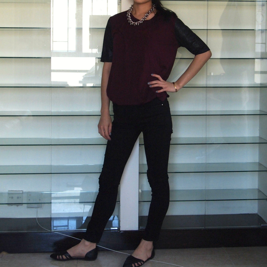 Zara tee & necklace, Topshop jeans, Forever 21 flats