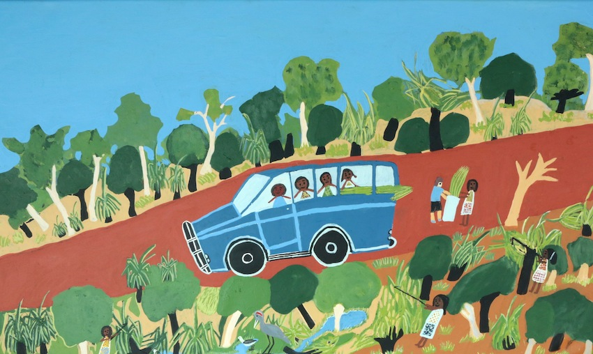 Pandanas Collecting with the Ladies in the Blue Troupie by Margaret Dhorrpuy  Acrylic on canvas  91 x 152cm