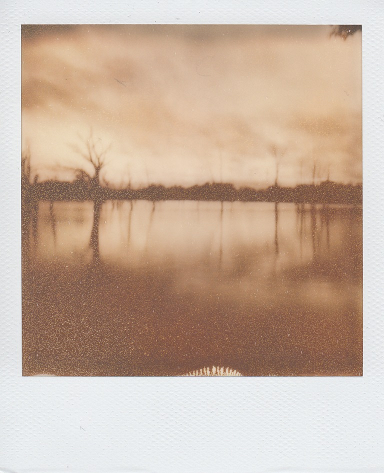 Black and white film image of a lake