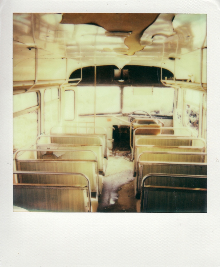 An abandoned bus - a bit more detail evident due to the general low light. Still, see how the windows are just completely white.