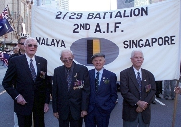 Frank Nankervis (on left) with Barney Davitt, Ken Crawford and John Roxburgh at the Anzac Day March 2007