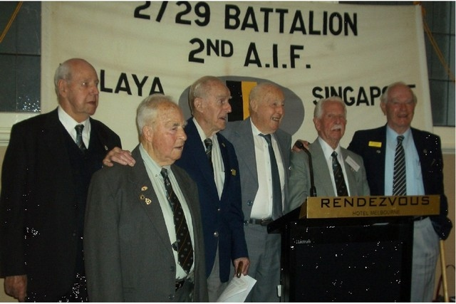 Left to right: 2/29th Veterans, George Tite, George Garner, Bob Christie, Wal Snowden, John Roxburgh, and Hal Thirlwell at 2008 Reunion Lunch