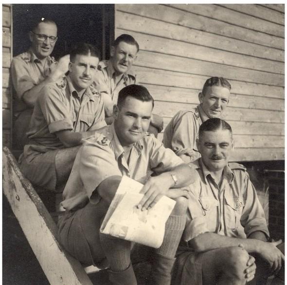 L-R (Back) - Capt Kemp, Capt Morgan, Unknown,  (Front) – Capt Bowring, Capt Gibson, Maj Oliff