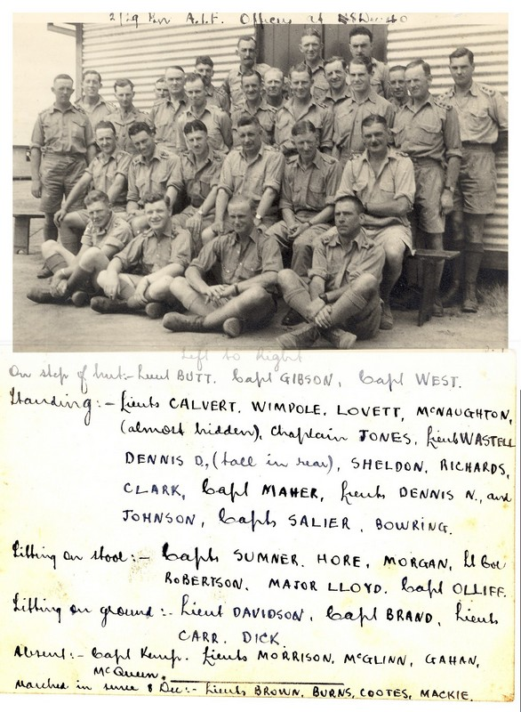 Photo with names taken at Bathurst NSW during training 8 December 1940