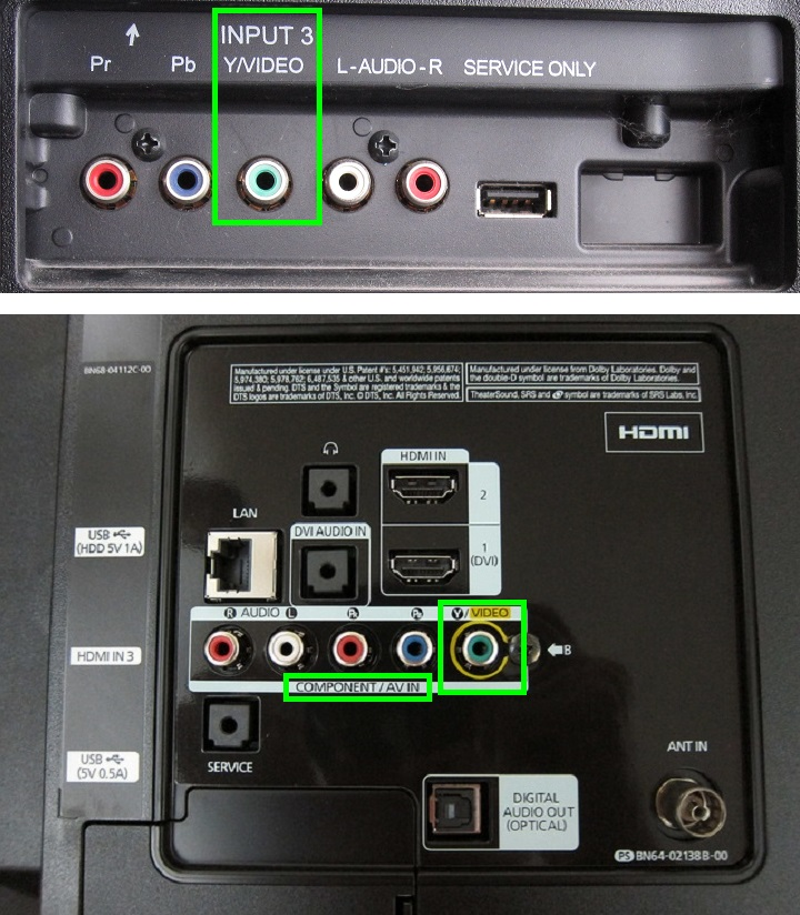 Two different TVs having shared composite & component video inputs.
