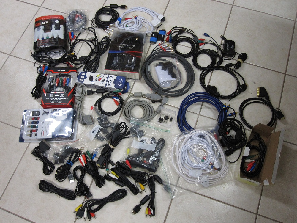 "Contents of ""the PS1 Box"", i.e. various cable/connectors we tried"