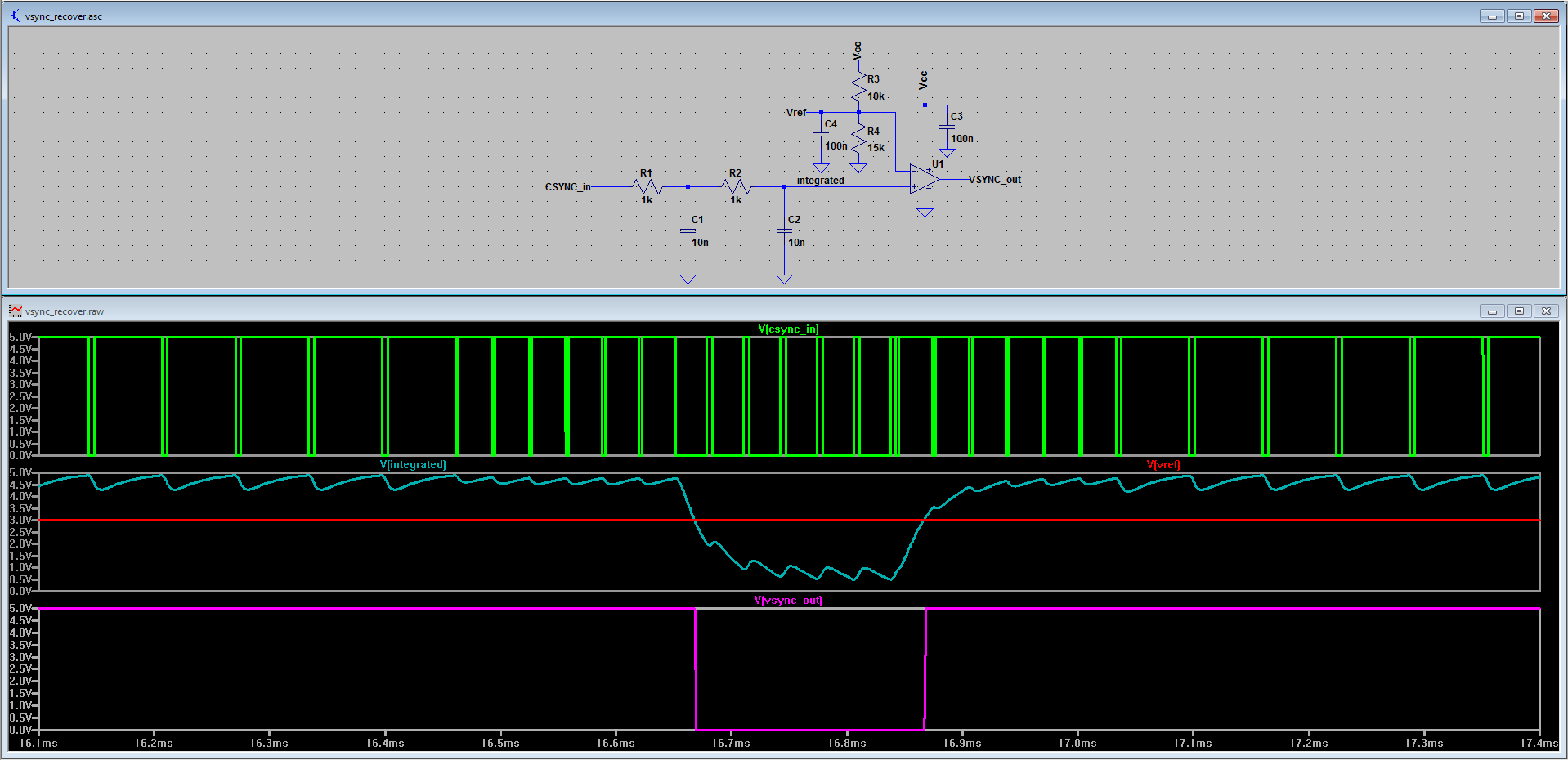 Simple RC integrator + analog comparator VSYNC recovery circuit.
