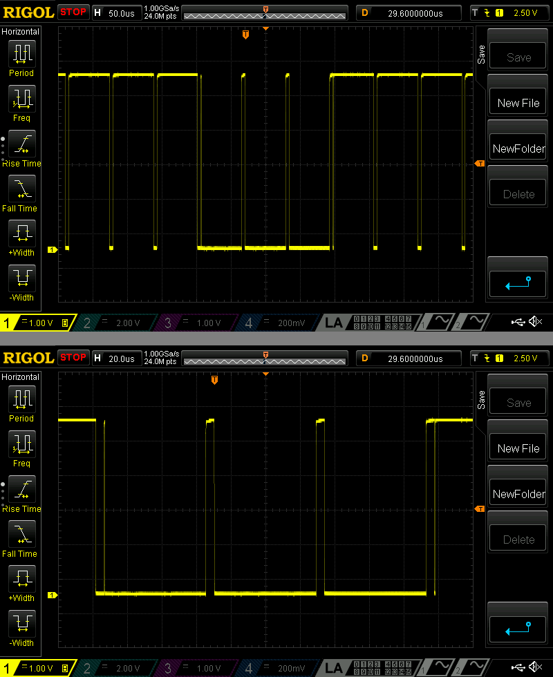 [Top] CSYNC from a Sega Genesis running in Master System mode  [Bottom] Zoomed-in version of the top