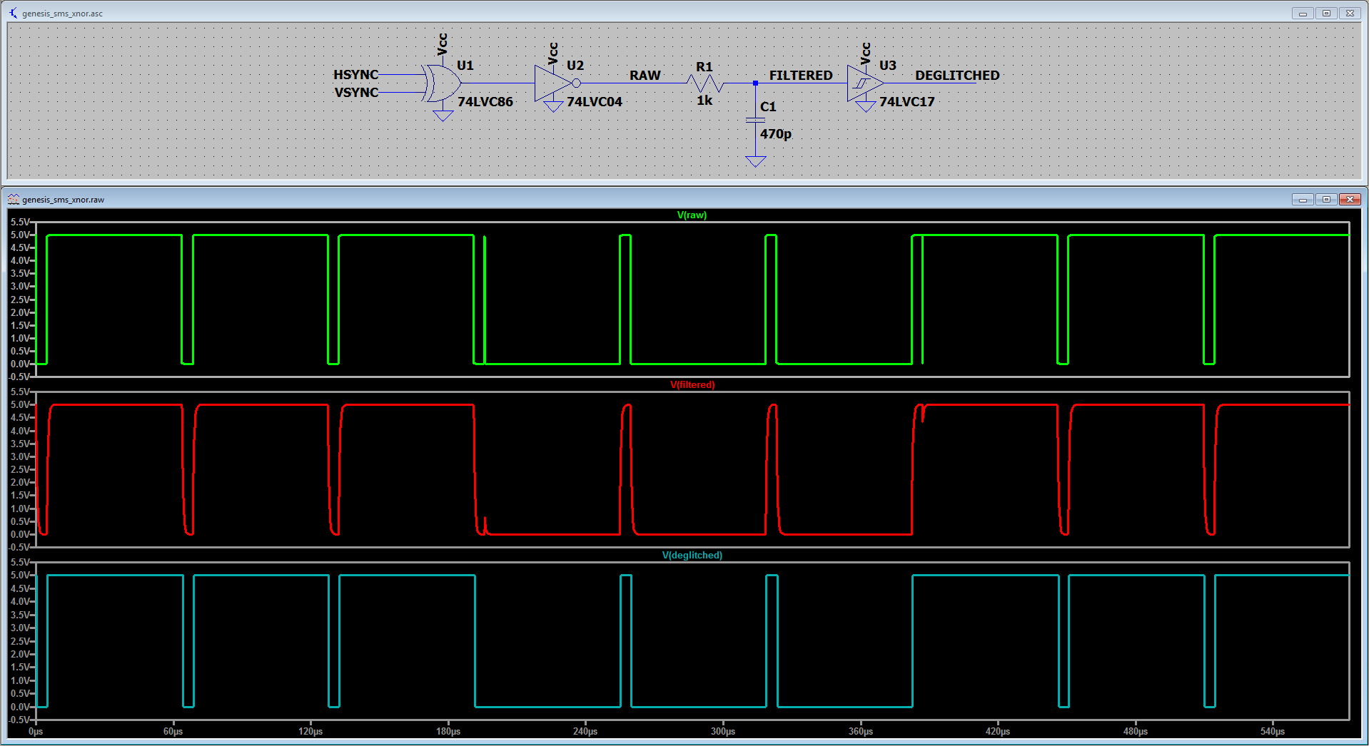 A circuit simulation of the proposed deglitch filter for Sega Genesis's legacy XNOR output. Components values were selected to suppress glitches of roughly 100ns or less in length.