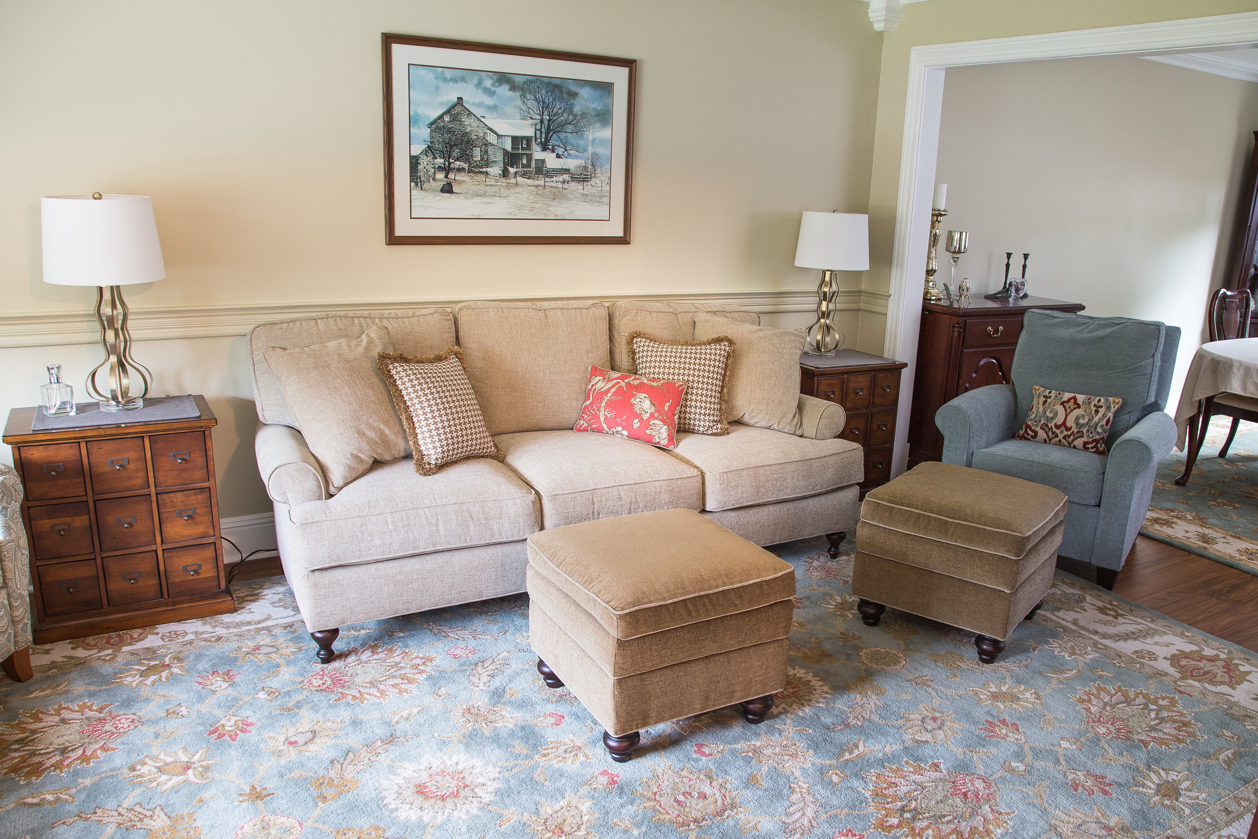 Colorful transitional Family Room, with upholstery that stands up to kids and dogs, Mercer County, NJ