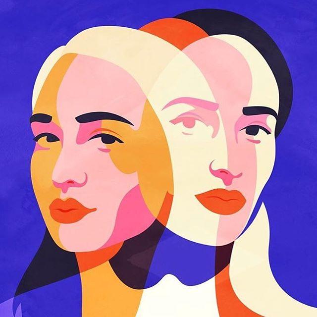 Jemima by @petraerikssonstudio . . . #illustration #doubleexposure #watercolor #graphicdesign #print #color #woman #marketing #branding #business #documentowls